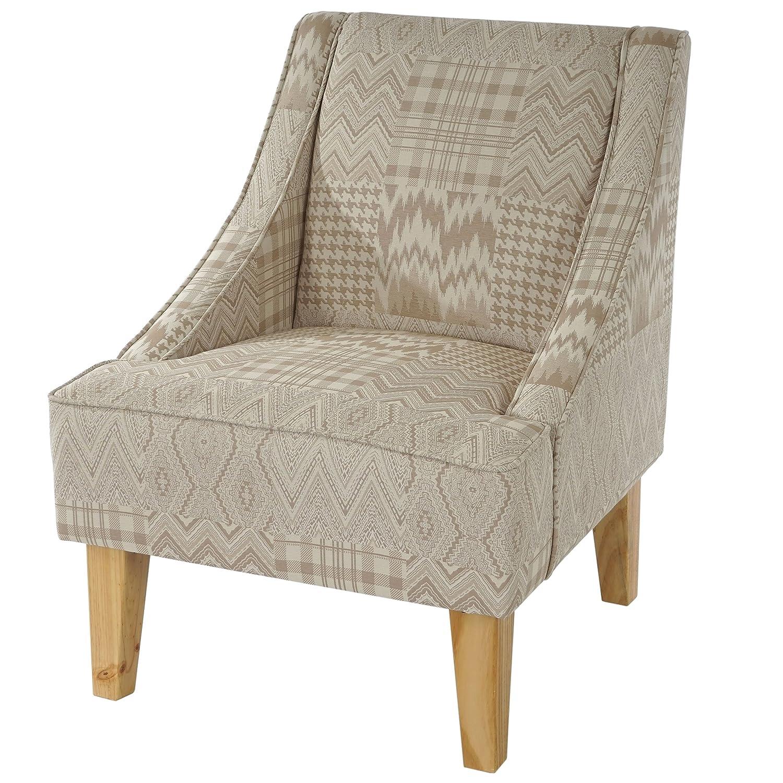 Mendler Sessel Malmö T371, Loungesessel Polstersessel, Retro 50er Jahre Design, Stoff Textil  beige braun