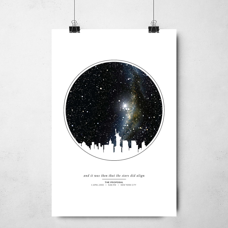 8df6e110a68b4 Personalized Night Sky Star Map Unframed Print with City Skyline