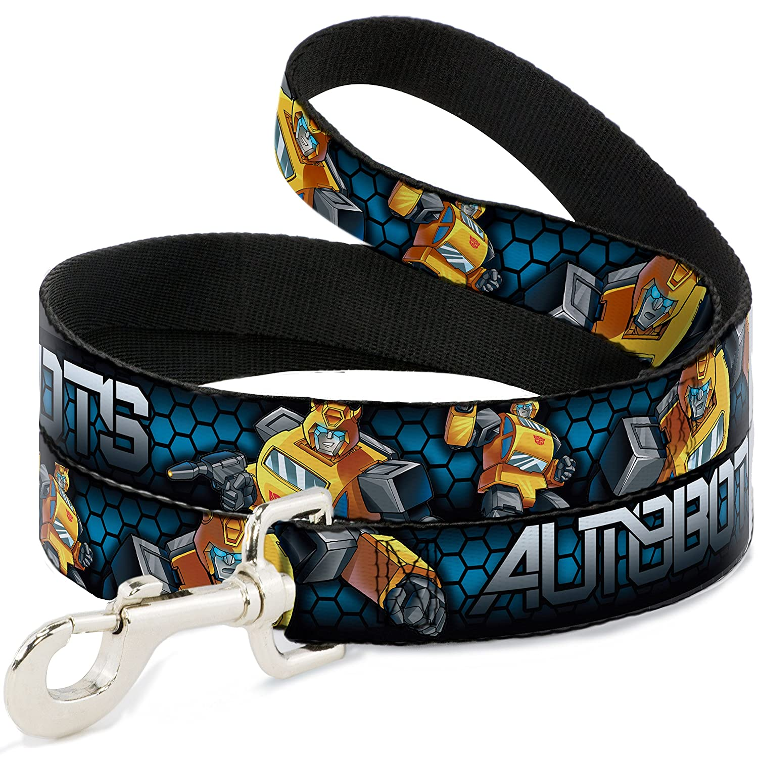 Buckle-Down Pet Leash Autobots-Bumblebee Poses Honeycomb bluee-Fade Black White 6 Feet Long 1  Wide