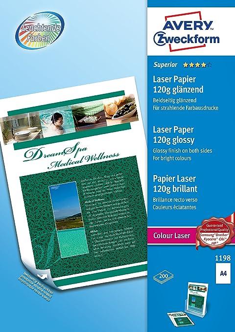 Avery España 1198 - Pack de 200 folios de papel fotográfico para ...