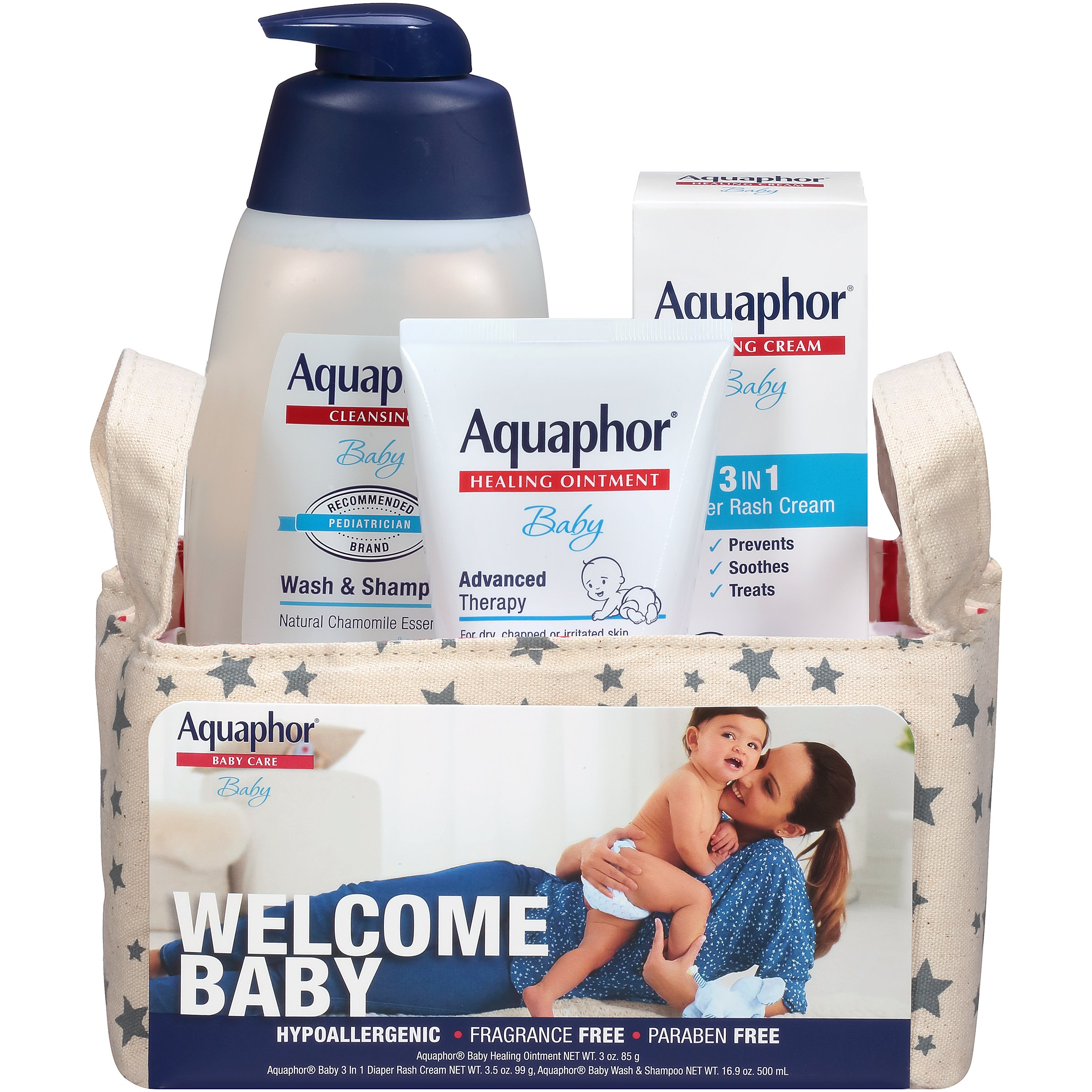 Aquaphor Baby Welcome Baby Gift Set - Value Size - Healing Ointment, Wash and Shampoo, 3 in 1 Diaper Rash Cream by Aquaphor