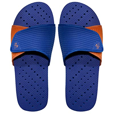 Showaflops Boys' Antimicrobial Shower & Water Sandals for Pool, Beach, Camp and Gym - Adjustable Colorblock Slide   Sandals