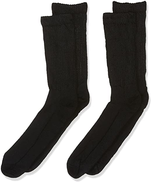 8cde4e5e4cd3 Dr. Scholl's Men's Big and Tall Diabetic and Circulatory Crew Socks 2 Pair,  Black