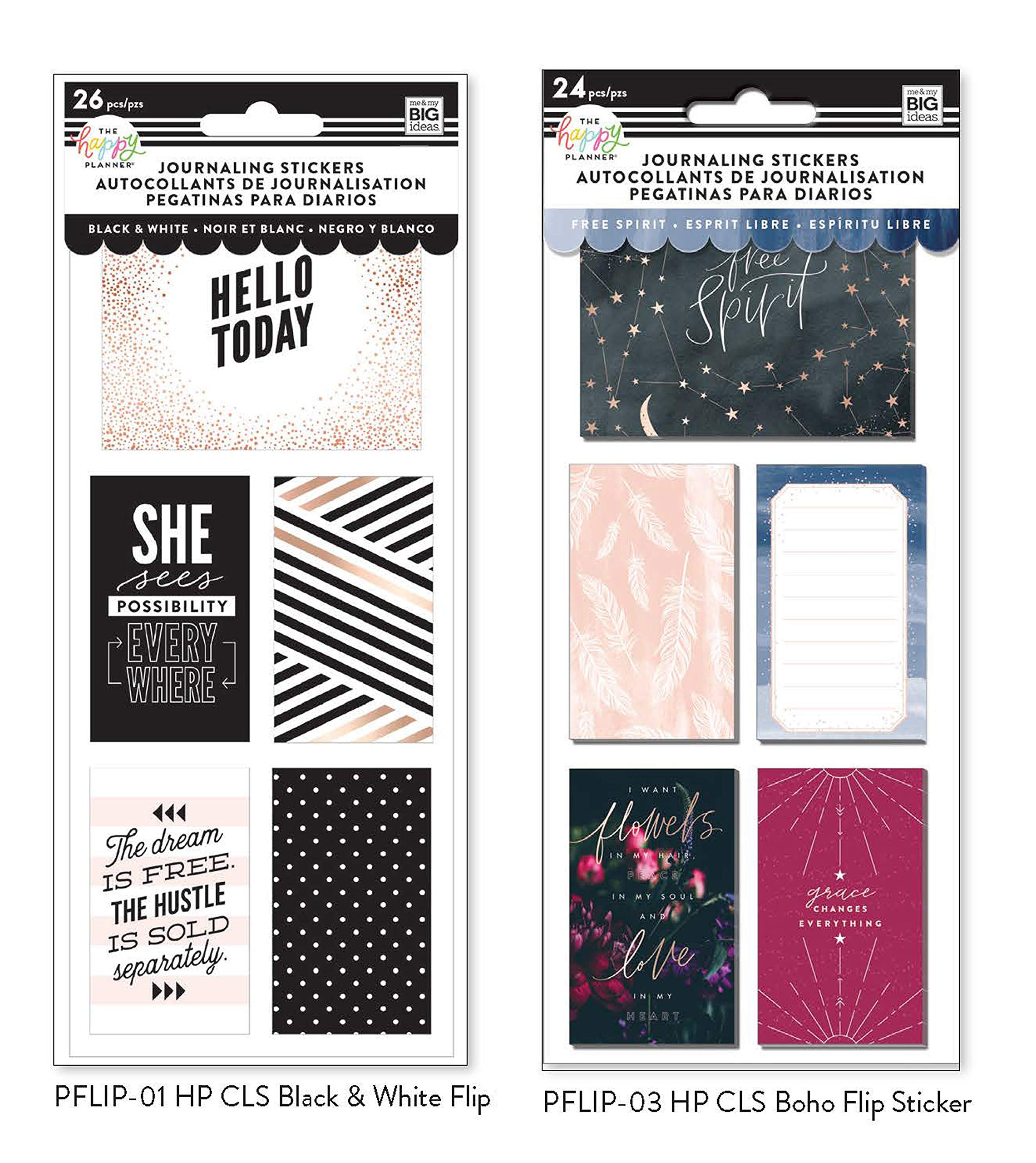 me & My Big Ideas The Happy Planner Journaling Stickers: Black & White Flip, Boho Flip Stickers .Set of 2 by MAMBI