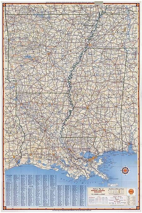 Arkansas And Louisiana Map.Amazon Com Historic Map Shell Highway Map Of Arkansas Louisiana