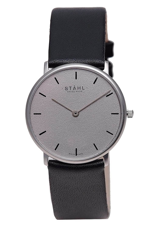Stahl Swiss Made Armbanduhr Modell: st61307 – Edelstahl – Klein 27 mm Fall – Bar Grau Zifferblatt