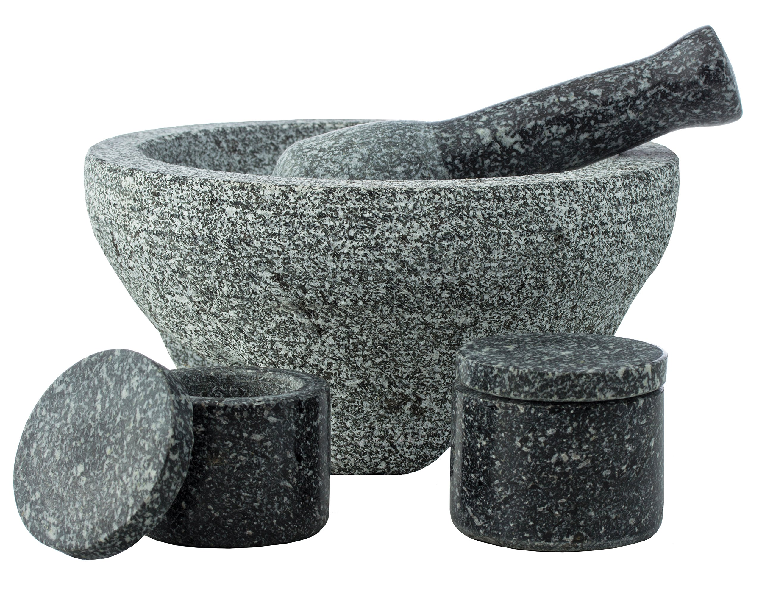 HealthSmart 4-piece Granite Molcajete Set, a Stylish Yet Durable Mortar & Pestle with 2 Spice Containers by HealthSmart