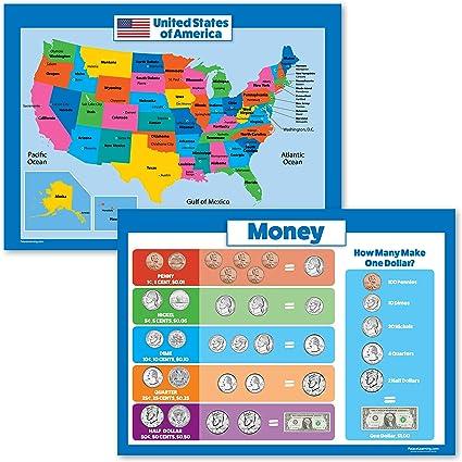 2 unidades – Mapa de Estados Unidos para niños y dinero Póster Set – Estados Unidos Wall Chart – Póster de dinero: Amazon.es: Oficina y papelería