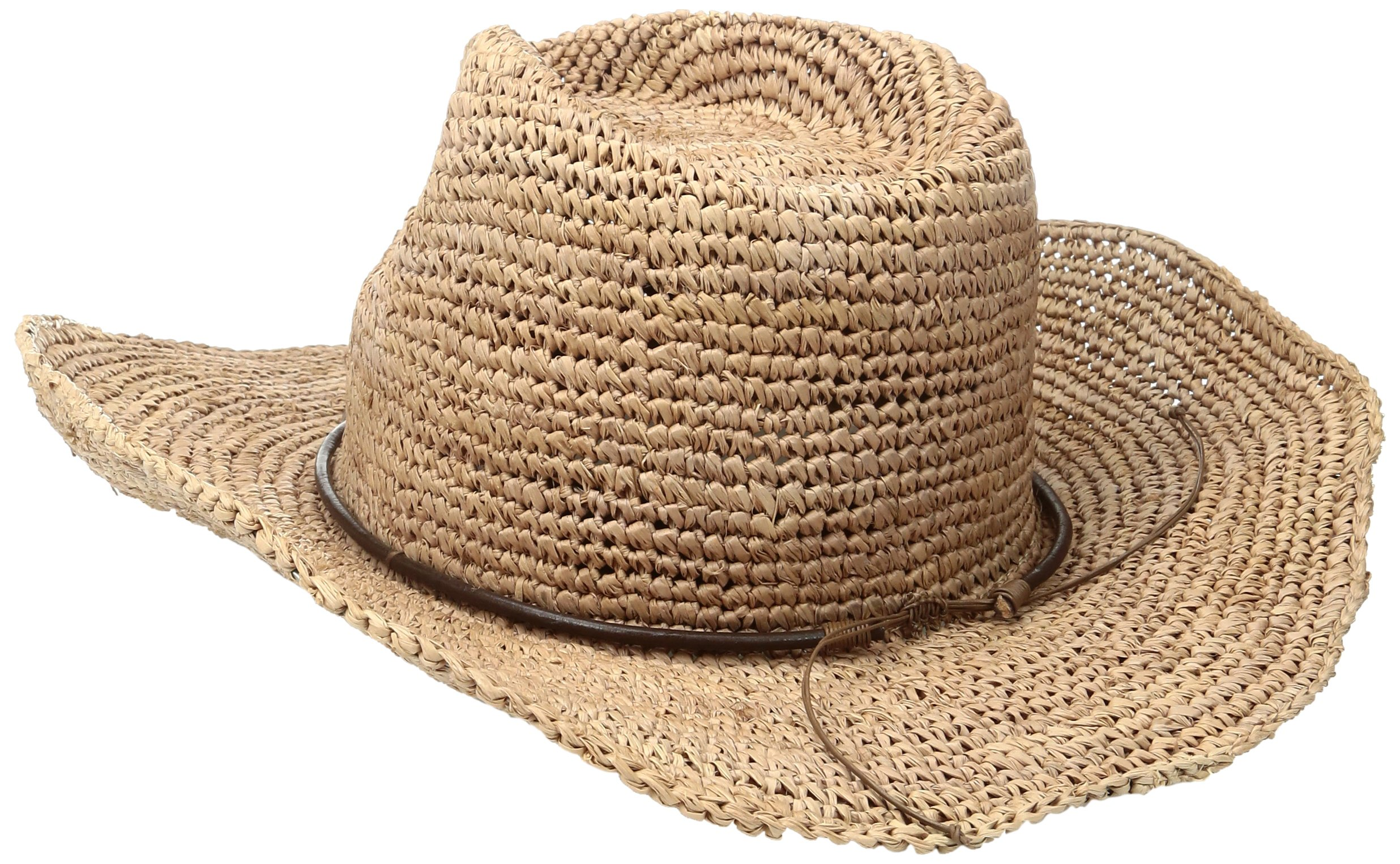 ale by Alessandra Women's Cassidy Raffia Cowboy Hat with Beaded Trim and Memory Wire Brim, Cocoa, One Size by ale by Alessandra (Image #2)