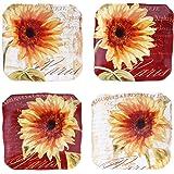 "Certified International Paris Sunflower Canape Plates (Set of 4), 5.75"", Multicolor"