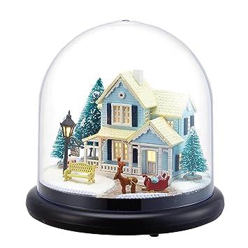 Amazon.es: DIY de madera en miniatura casa de muñecas Kit -- casetas de nieve modelo con diseño de muñecas Cubierta de plástico caso/luz LED/caja de música: ...