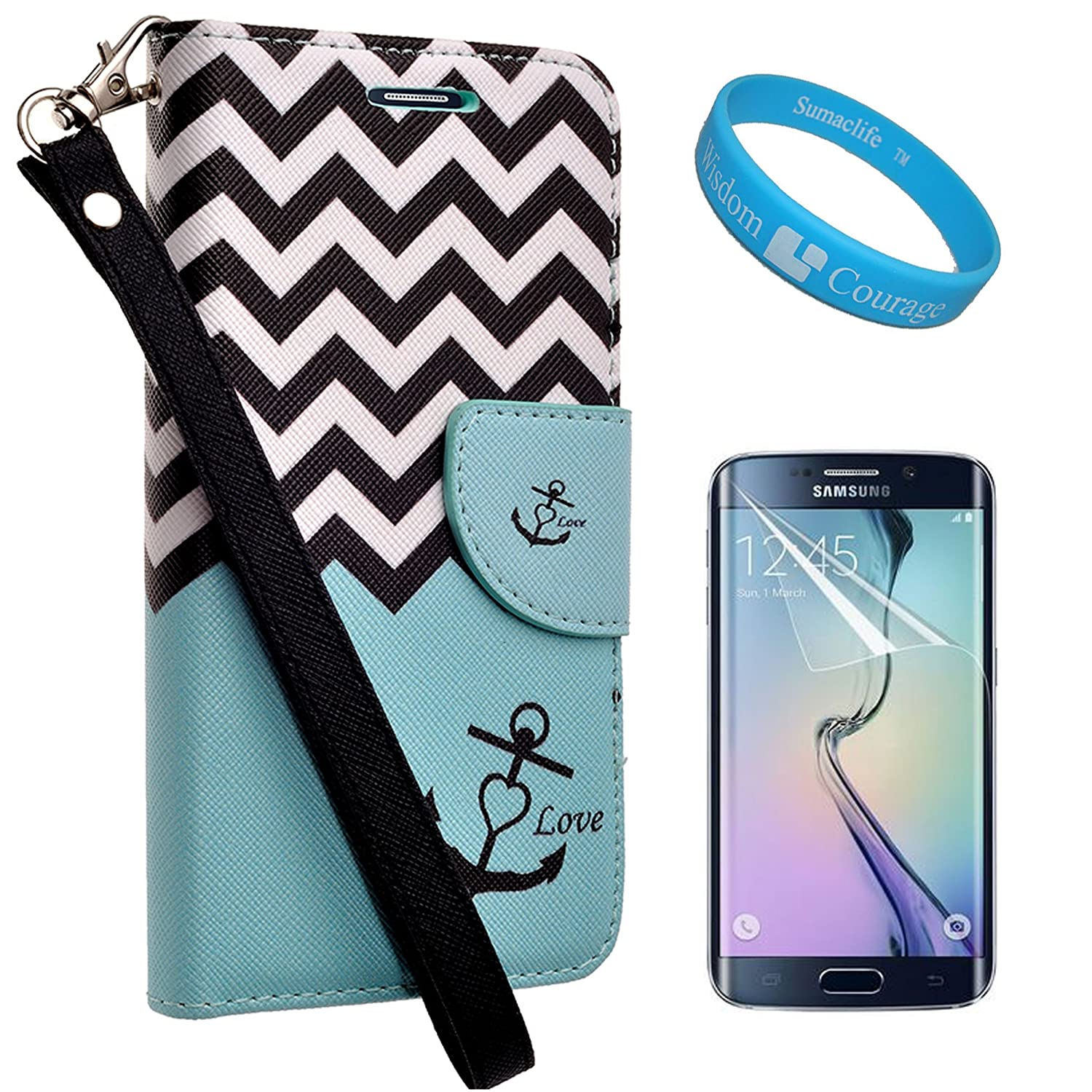 Stylish Teal Anchor Wallet Standing Case w/Hand Strap for Samsung Galaxy S6 Edge (2015) + Screen Protector + SumacLife TM Wristband