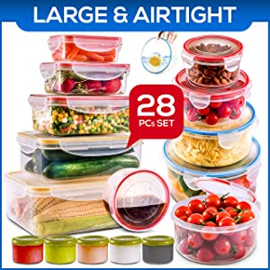 28 PCs Large Food Storage Containers with Lids Airtight- Freezer & Microwave Safe,BPA Free Plastic Meal Prep Containers & Kitchen set.Leak proof Lunch Containers-Snacks, Sandwich, Sauces & Bento box