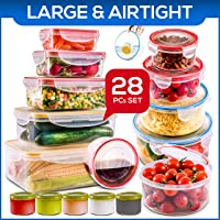 28 PCs Large Food Storage Containers with Lids Airtight- Freezer & Microwave Safe...