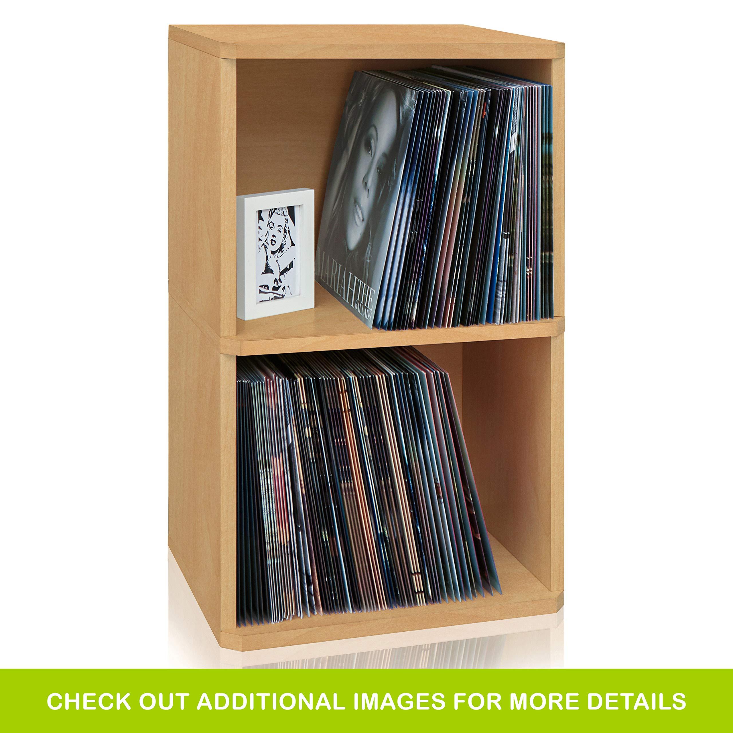 Way Basics 2-Shelf Vinyl Record Storage Cube and LP Record Album Storage Shelf, Natural by Way Basics