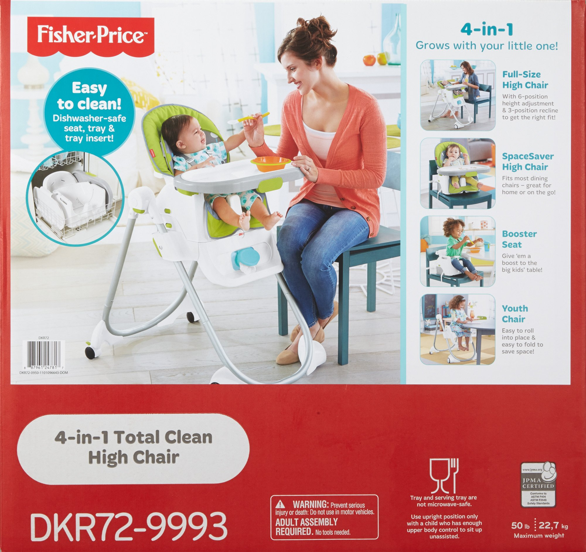Fisher-Price 4-in-1 Total Clean High Chair, Green/Gray by Fisher-Price (Image #16)