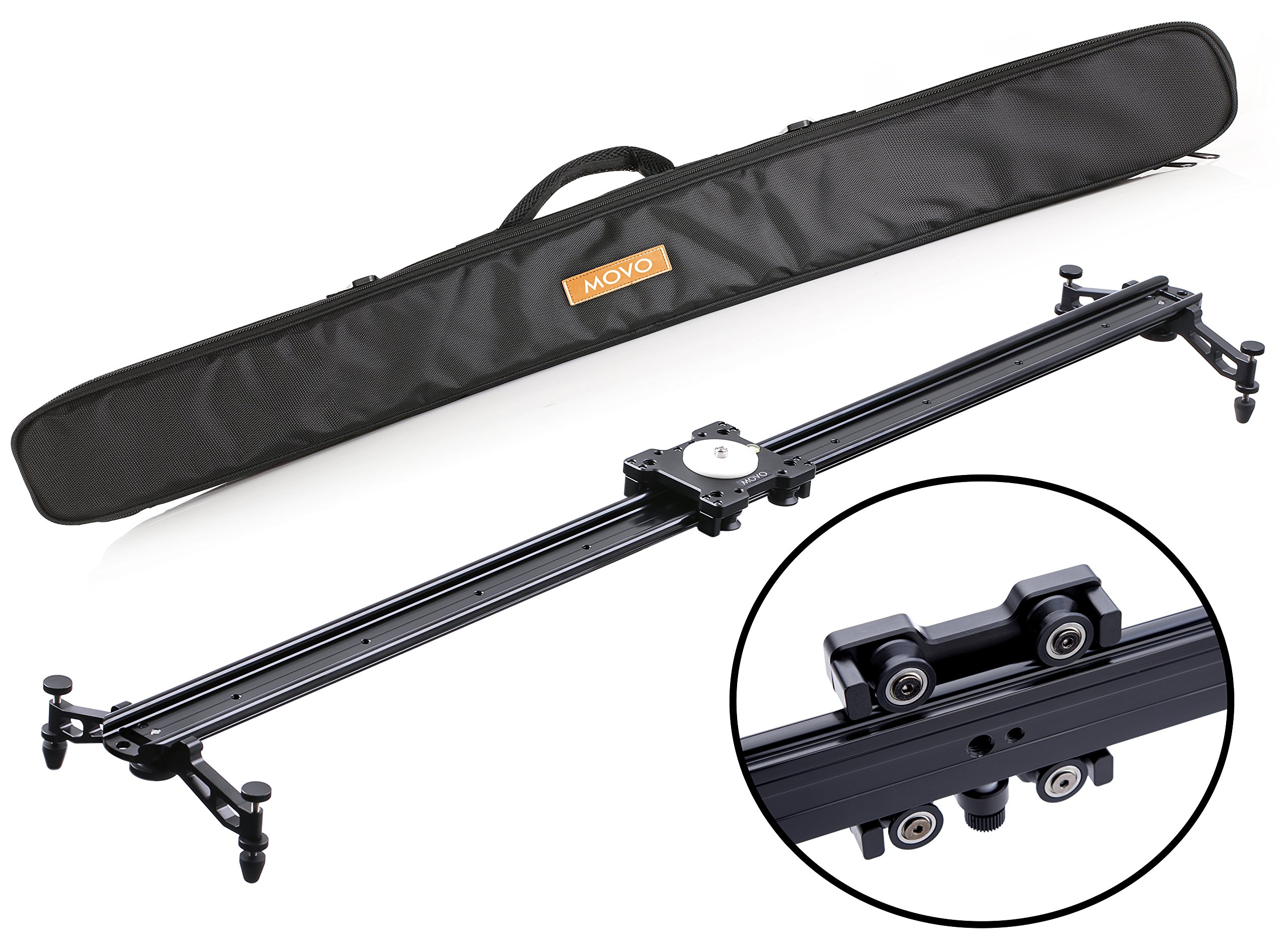 Movo MV-S120 47'' Camera Slider Track Glider System with Roller Bearing Platform, Adjustable Legs, Tension Control and More by Movo