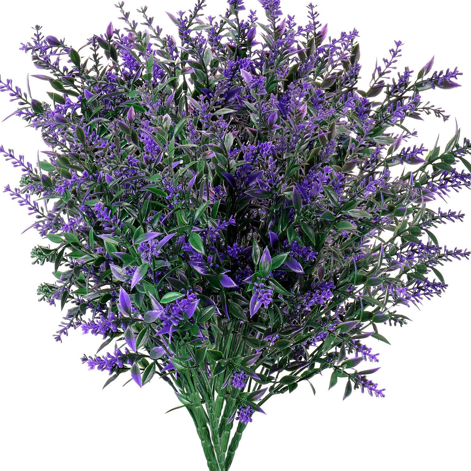 Artificial Plants Lavender Faux Breath UV Resistant Fake Shrubs Simulation Greenery Bushes House Office Garden Patio Indoor Outdoor Decor Wedding Table Flowers Arrangement Bouquet Filler - 6pcs