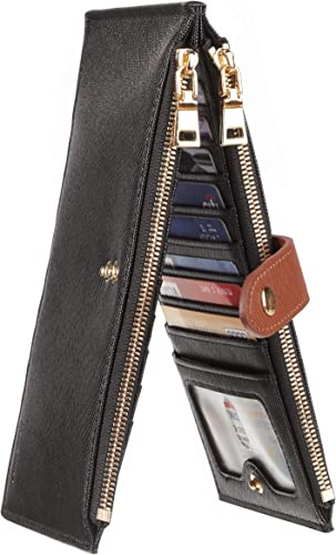 Chelmon Womens Genuine Leather Wallet RFID Blocking Credit Card Holder Zipper Purse