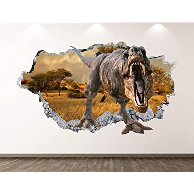 "West Mountain Wild Dinosaur Wall Decal Art Decor 3D Smashed T-Rex Sticker Poster Kids Room Mural Custom Gift BL336 (42"" W x 24"" H): Home & Kitchen"