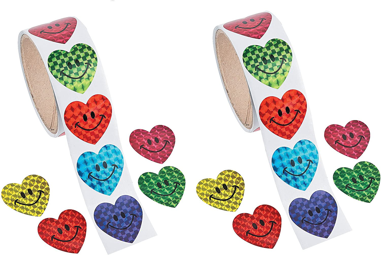 Roll of 100 Smiling Face Stickers for Kids CraftsChildrens Craft Stickers