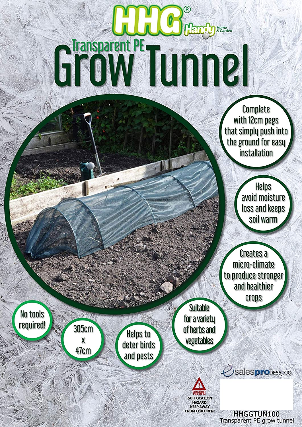 Assorted Materials /& Quantities Handy Home and Garden 1 x GTUN200 Fleece Grow Tunnels White Complete with Pegs 305cm x 47cm x 47cm