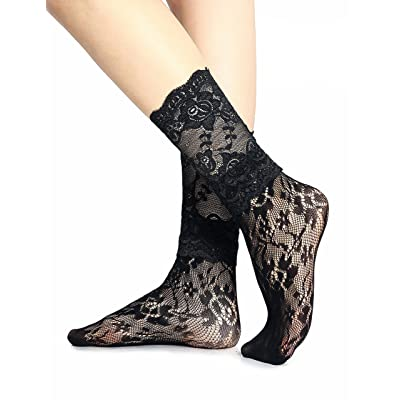 2 Pairs Women Black Lace Nylon Dress Socks, Stylish Fishnet, Mid Calf Ankle High