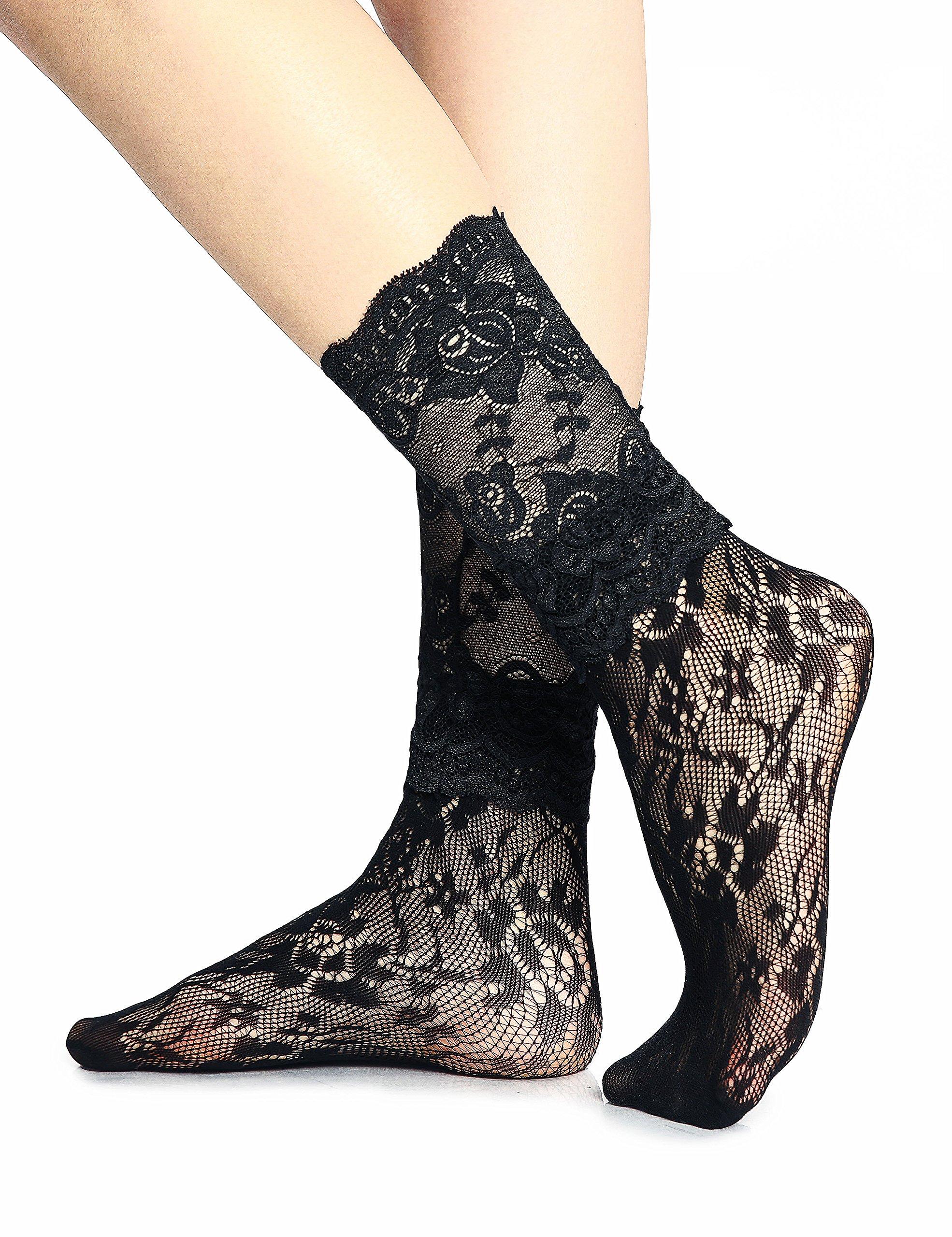 Women Black Lace Nylon Dress Socks, Cute Stylish Fishnet, Mid Calf Ankle High