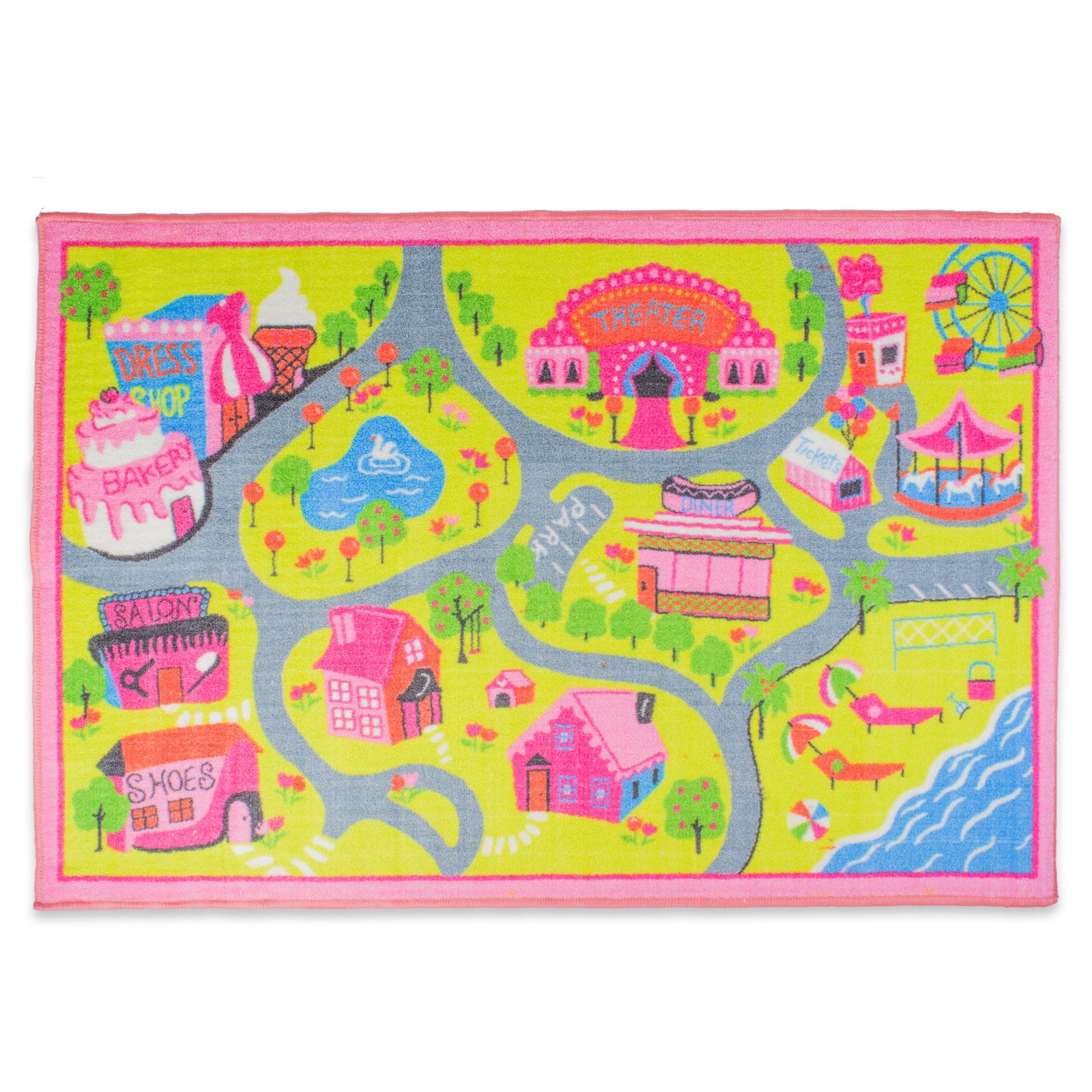 Playmat Play Rug Educational Area Rug for Kids, Babt, Toddler, 40x60'', Perfect Carpet for Children Bedroom, Playroom, Nursery room, and Game room-Town Fun by J & M Home Fashions