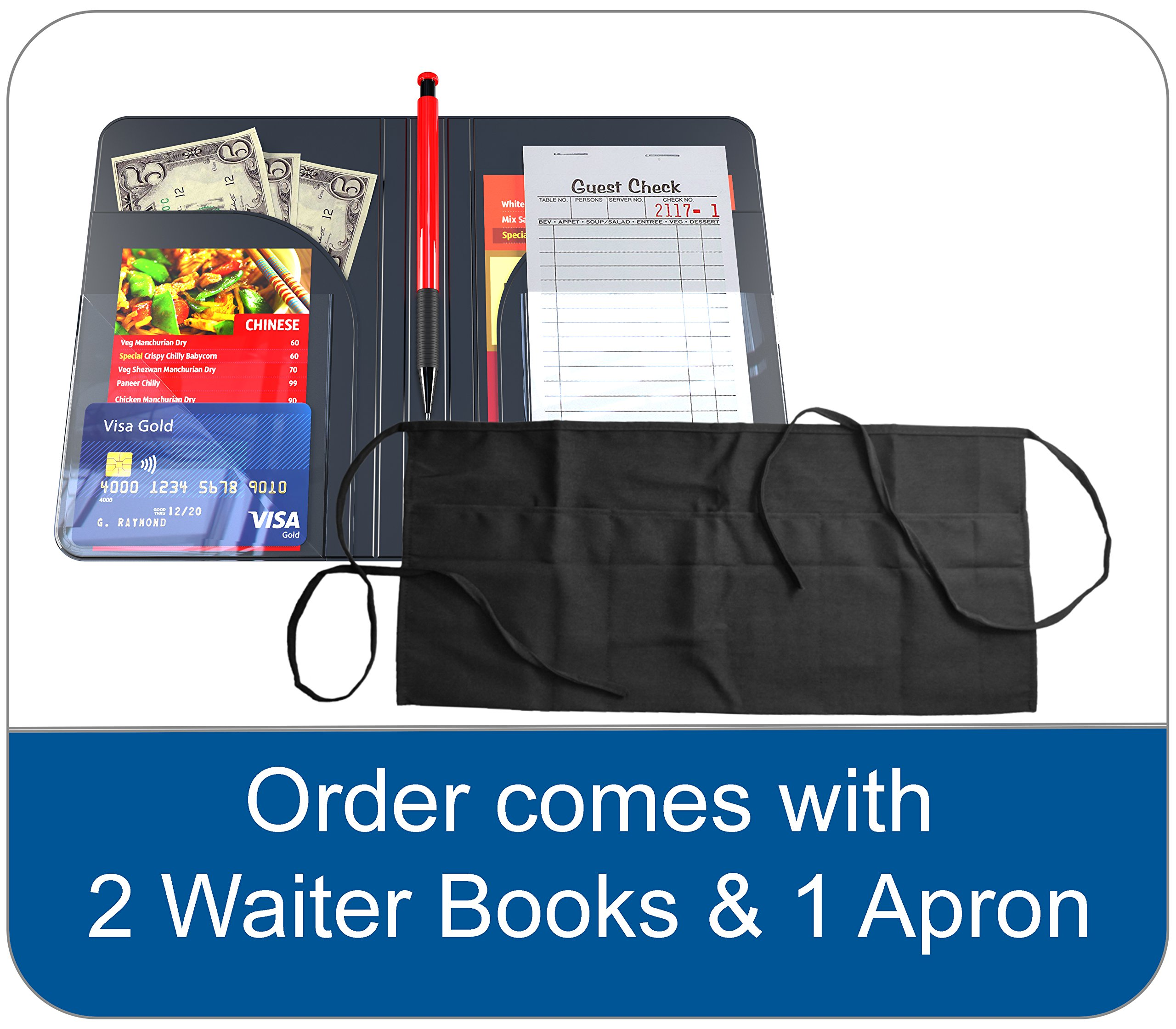 Waiter Book Server Wallet Server Pads Waitress Book Restaurant Waitstaff Organizer, Guest Check Book Holder Money Pocket by Gold Lion Gear (Image #3)