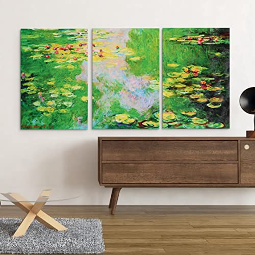 MasterPieces Water Lily 1, Monet, Hand-Embellished, Overall Size, 24 L x 48 W, 3 Piece