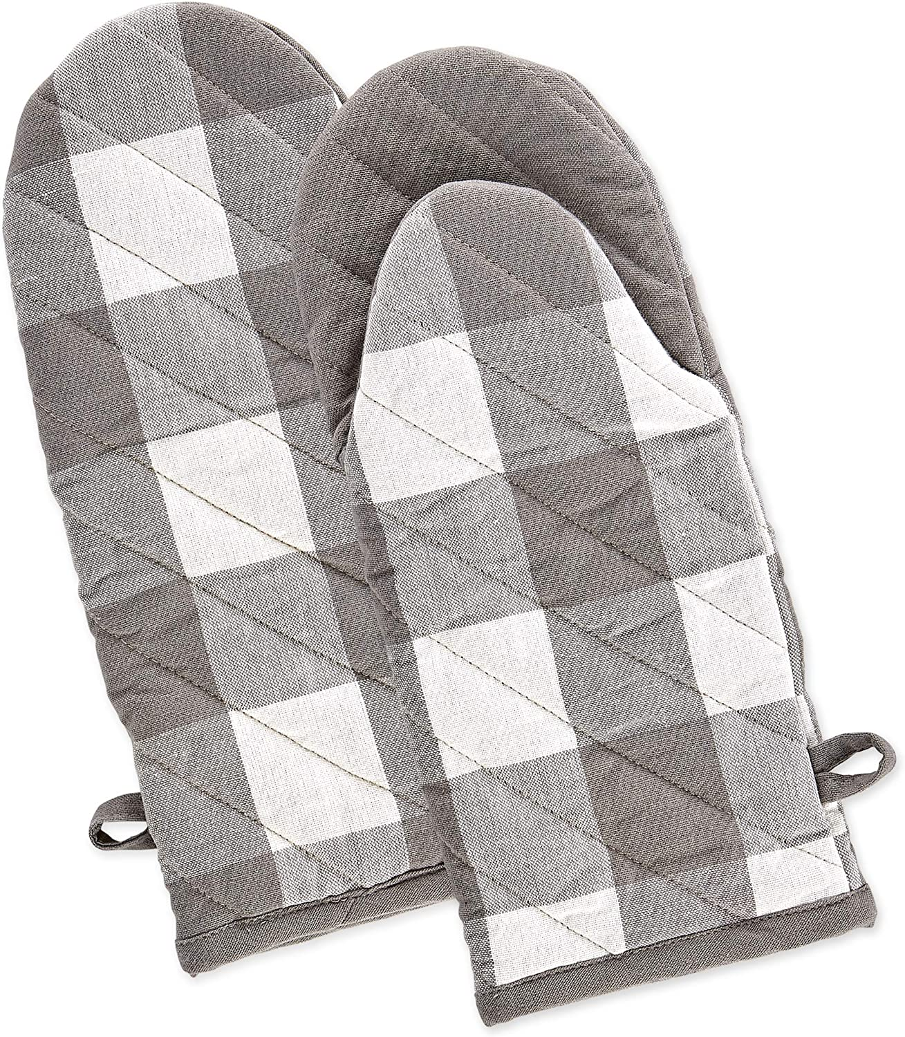 DII Buffalo Check Kitchen Collection, Oven Mitts, Gray & White 2 Piece