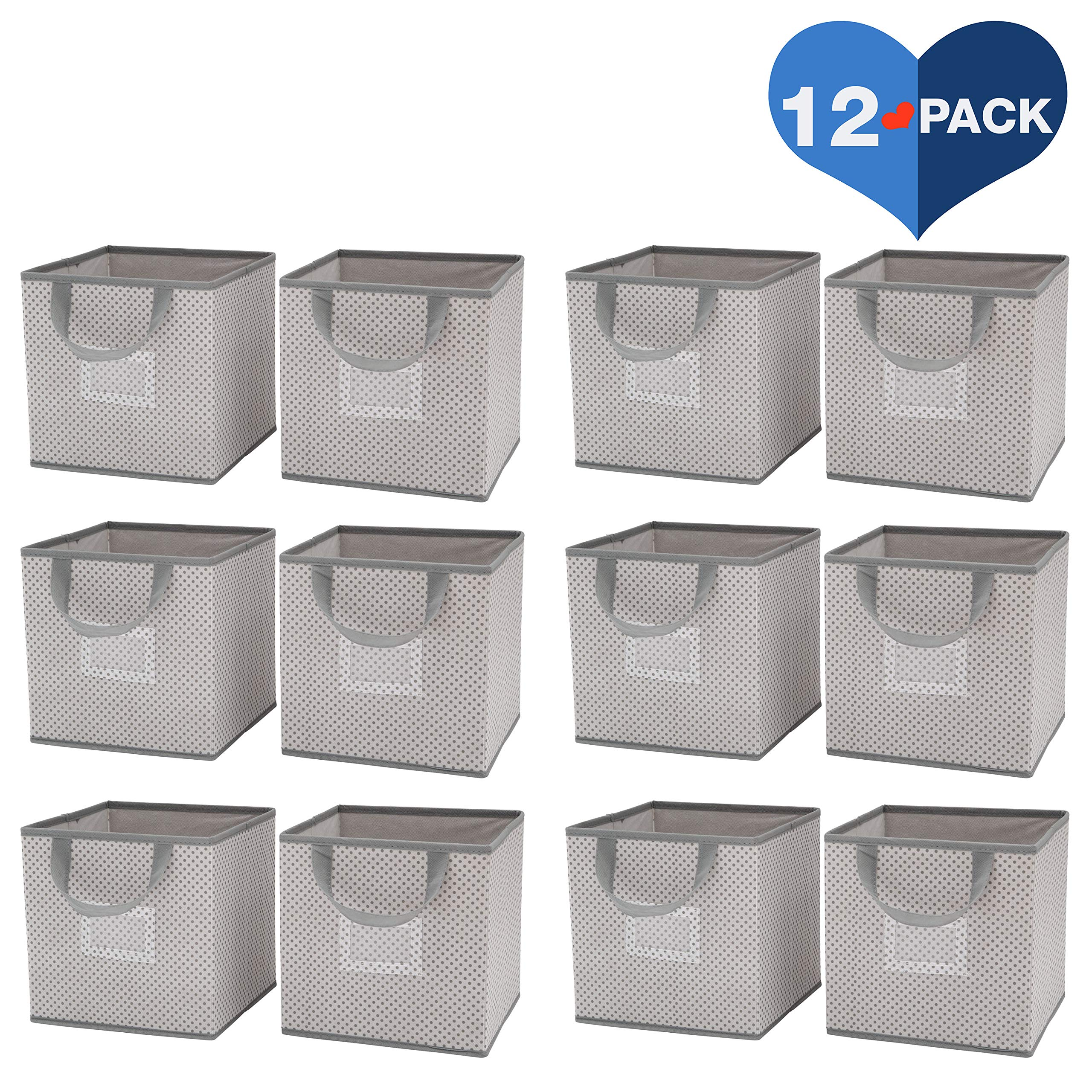 Delta Children 12 Piece Foldable Storage Cubes/Bins, Cool Grey by Delta Children