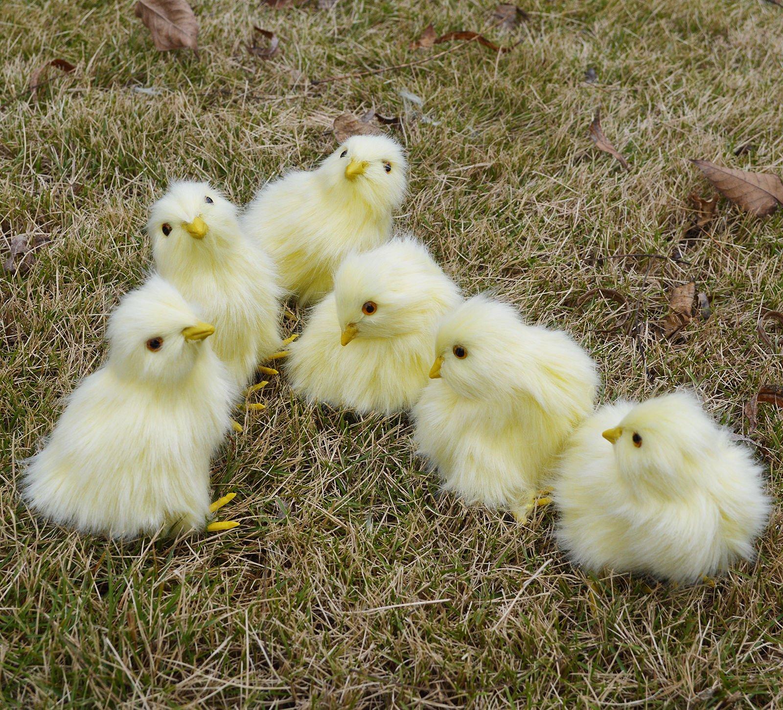 6 x Realistic Furry Baby Chicks Lifelike Plush Fur Animal Spring Easter Chicken Decoration