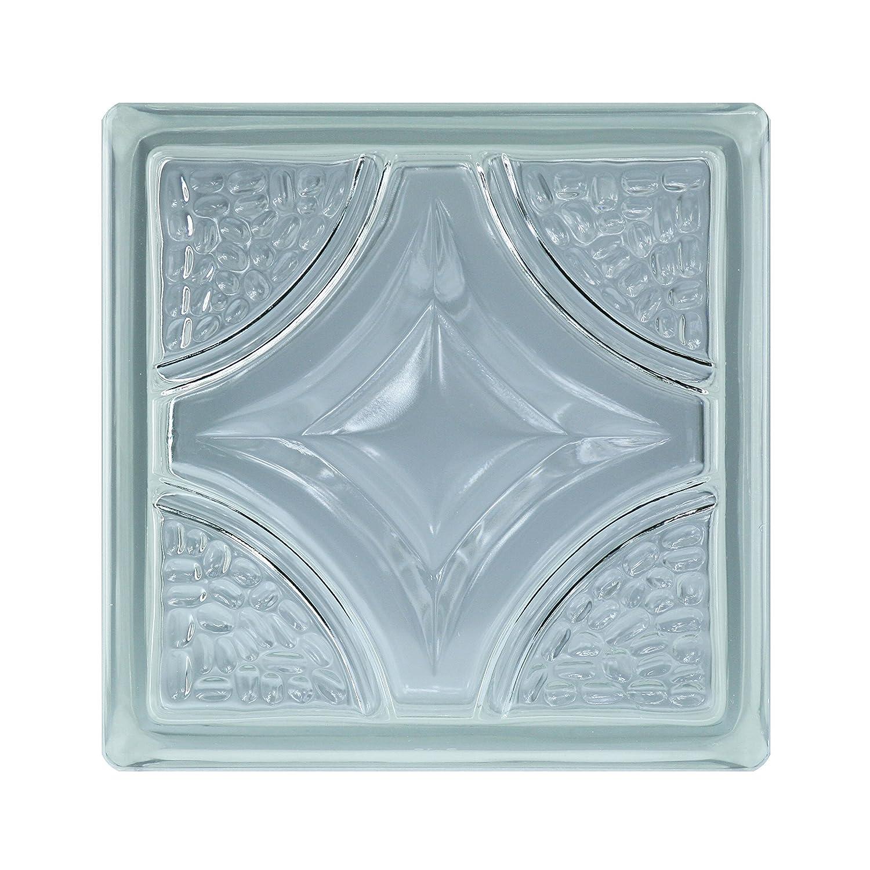6 pezzi BM vetromattone rombo SUPER white 19x19x8 cm