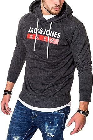 3d724a0ce62f87 JACK   JONES Herren Hoodie Kapuzenpullover Sweatshirt Pullover Streetwear 4  Elements (Small