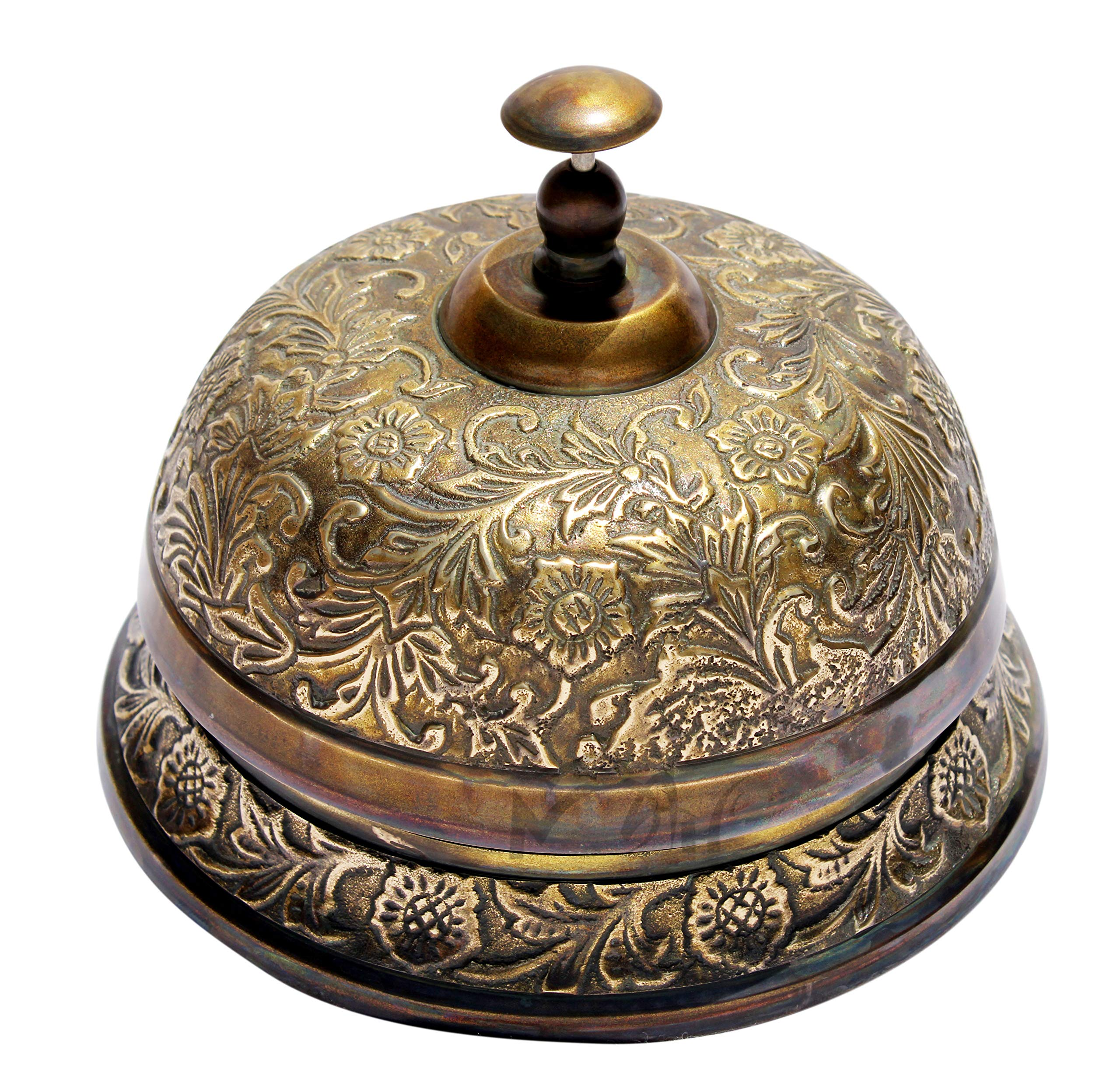MAH Floral Counter Bell Ornate Desk Bell Table Bells Call Bell Reception Bell (5.5 inches, Brass Antique) C-3064