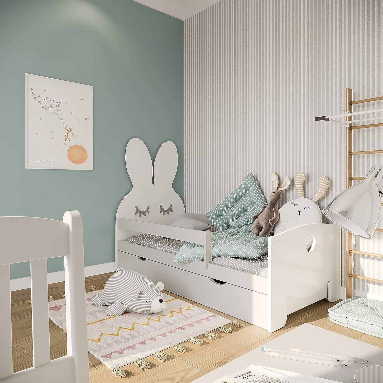 cama funcional montessori NeedSleep cuna con colch/ón 70x140 70x160 para ni/ños a partir de 2 a/ños liebre blanco 70x140, blanco marco de listones y cajones chica chico