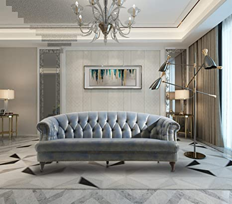 Amazon.com: Iconic Home Randalls Sofa PU Leather Upholstered ...