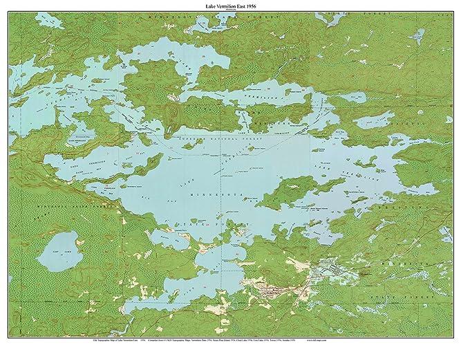 Lake Vermillion Minnesota Map.Amazon Com Lake Vermilion East 1956 Map Old Topographic Usgs