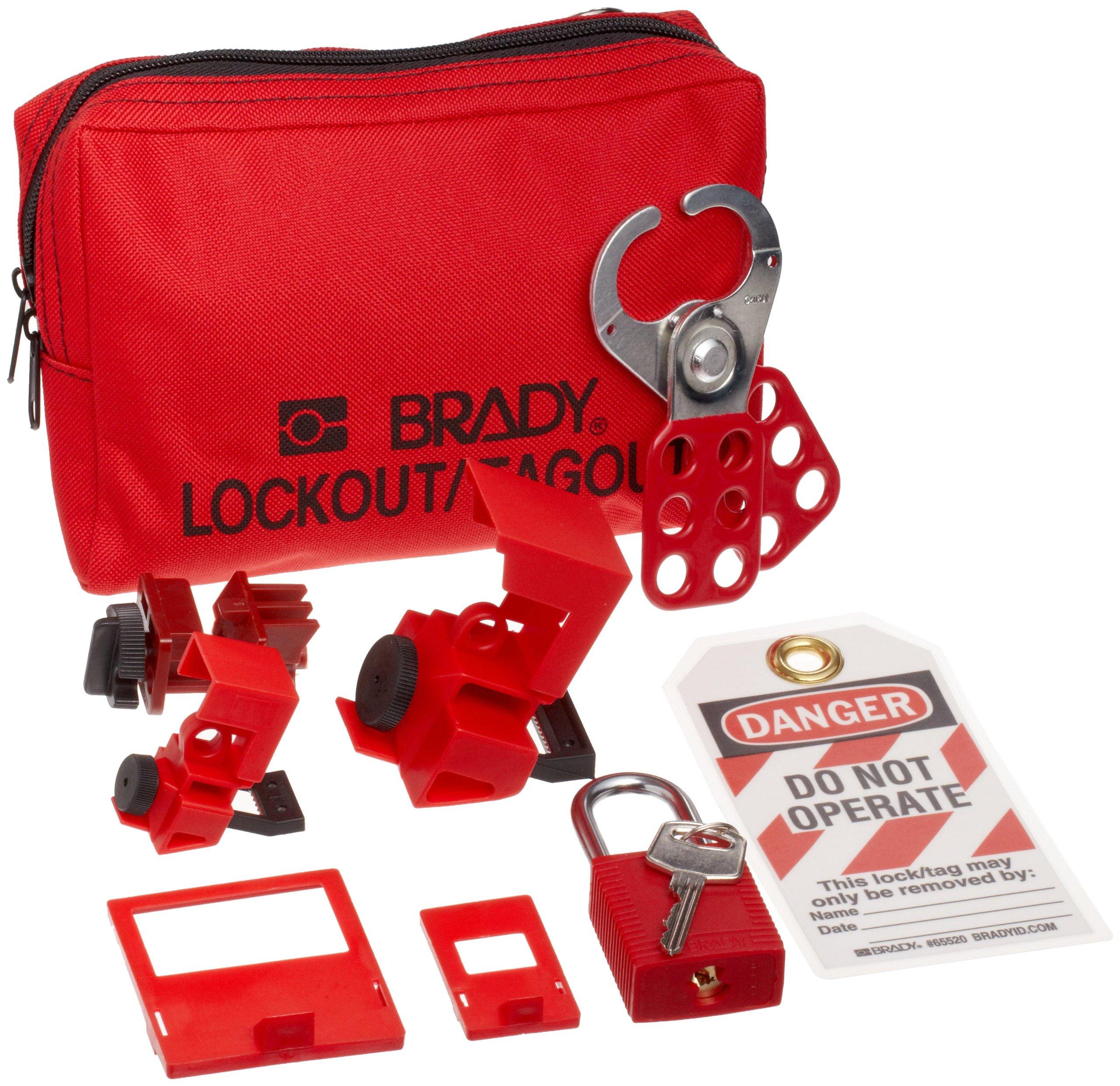 Brady Breaker Lockout Sampler Pouch Kit, Includes 2 Safety Padlocks