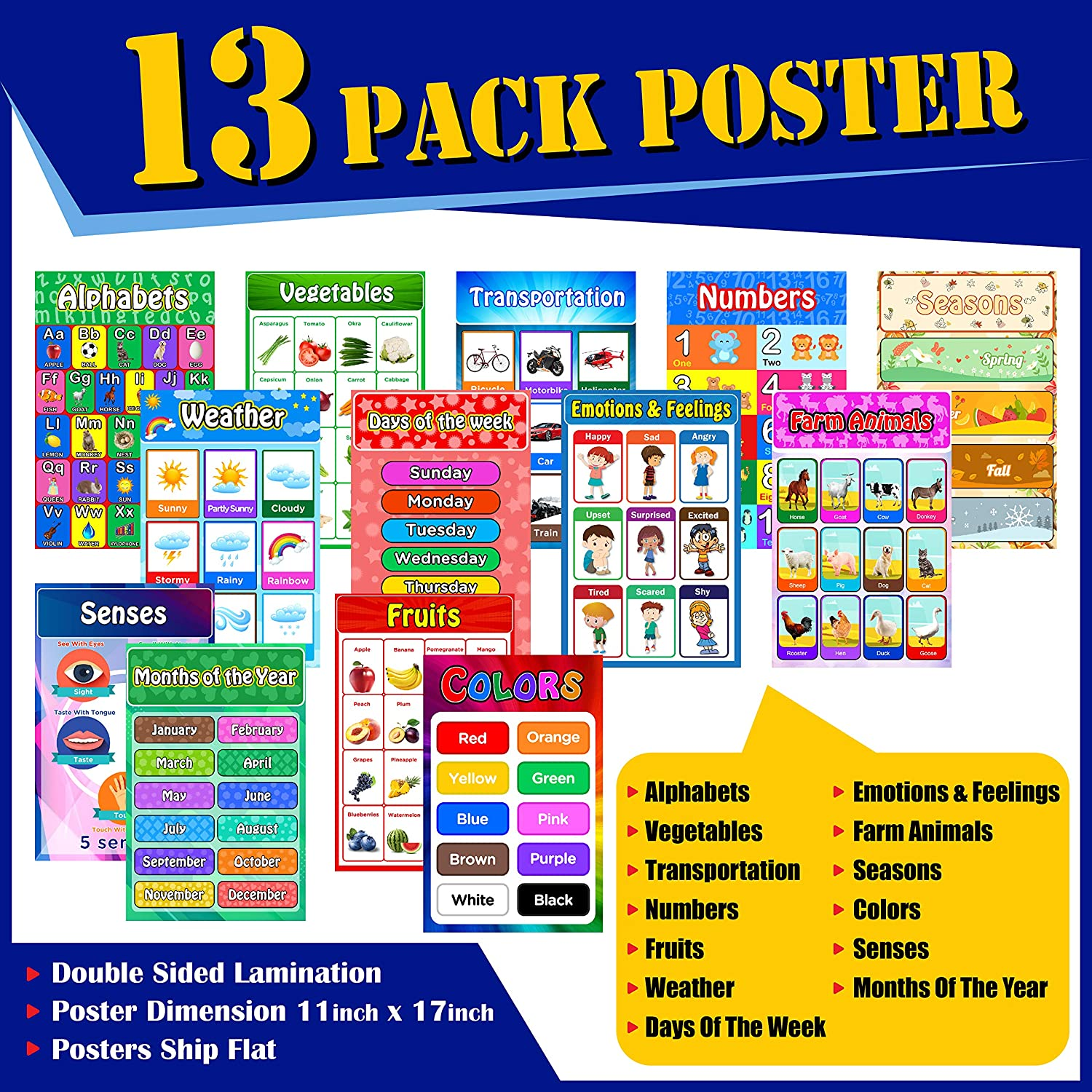 Educational Posters for Kids and Toddlers, Pack of 13 Large Laminated (11 X 17) Early Learning Posters for Preschool Homeschool and Kindergarten I Alphabets Numbers Colors Senses Emotion and More