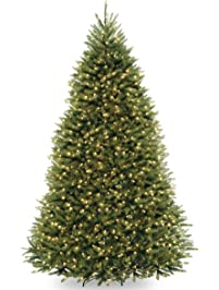 national tree 9 foot dunhill fir tree with 900 dual led lights and 9 function footswitch - Flat Back Christmas Tree