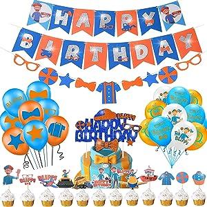 Blippi Birthday Party Decoration Kit, Blippi Banner Garland, Cake Cupcake Topper, Balloons; Hanging Swirl; Blippi Birthday Supplies for Kids Blippi Theme 2nd, 3rd, 4th, 5th Birthday Party Photo Props