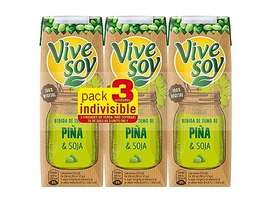 Vivesoy Zumo de Soja y Piña - Paquete de 3 x 250 ml - Total: 750 ml: Amazon.es: Amazon Pantry
