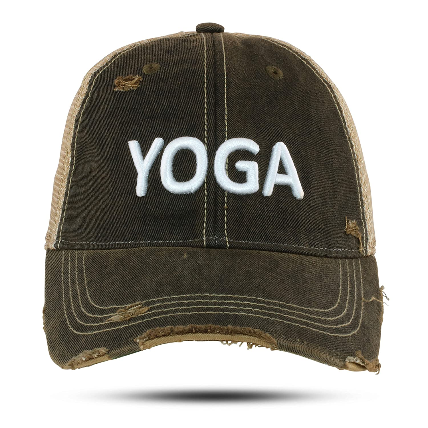 3f9eac36 GA Girl Yoga Hat Baseball Cap for Women 3D Embroidered Distressed ...