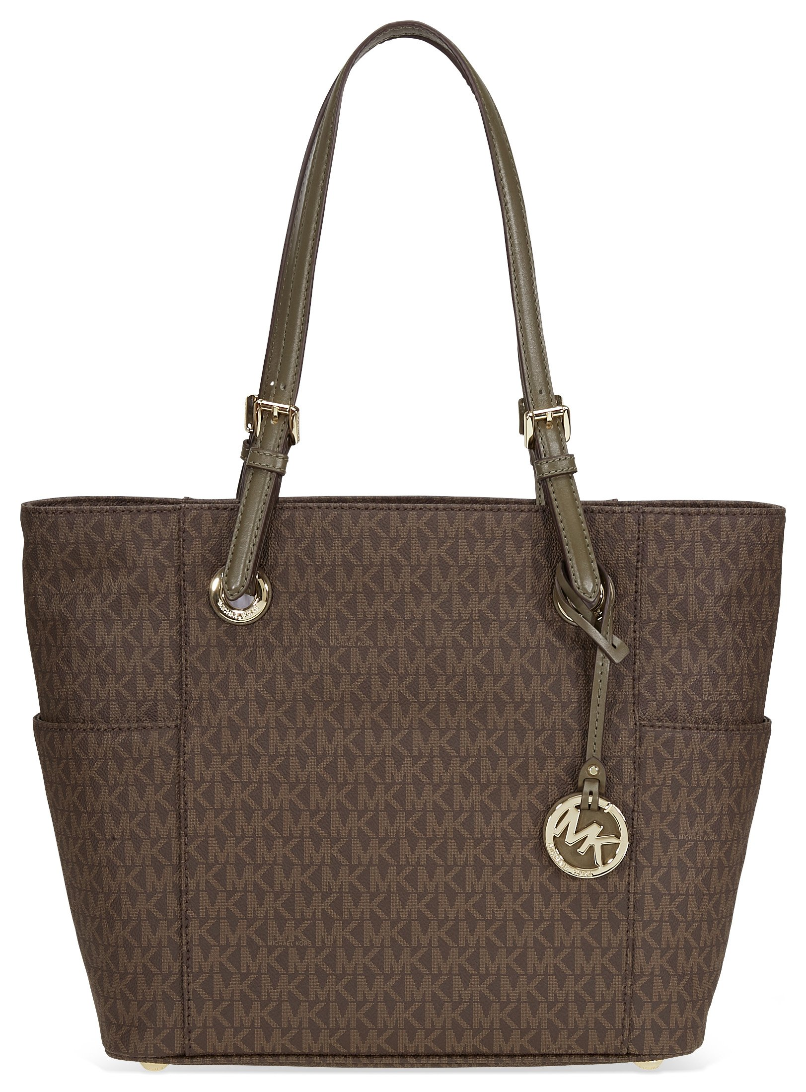 Michael Kors Jet Set Travel Small Logo Tote In Brown and Olive by Michael Kors