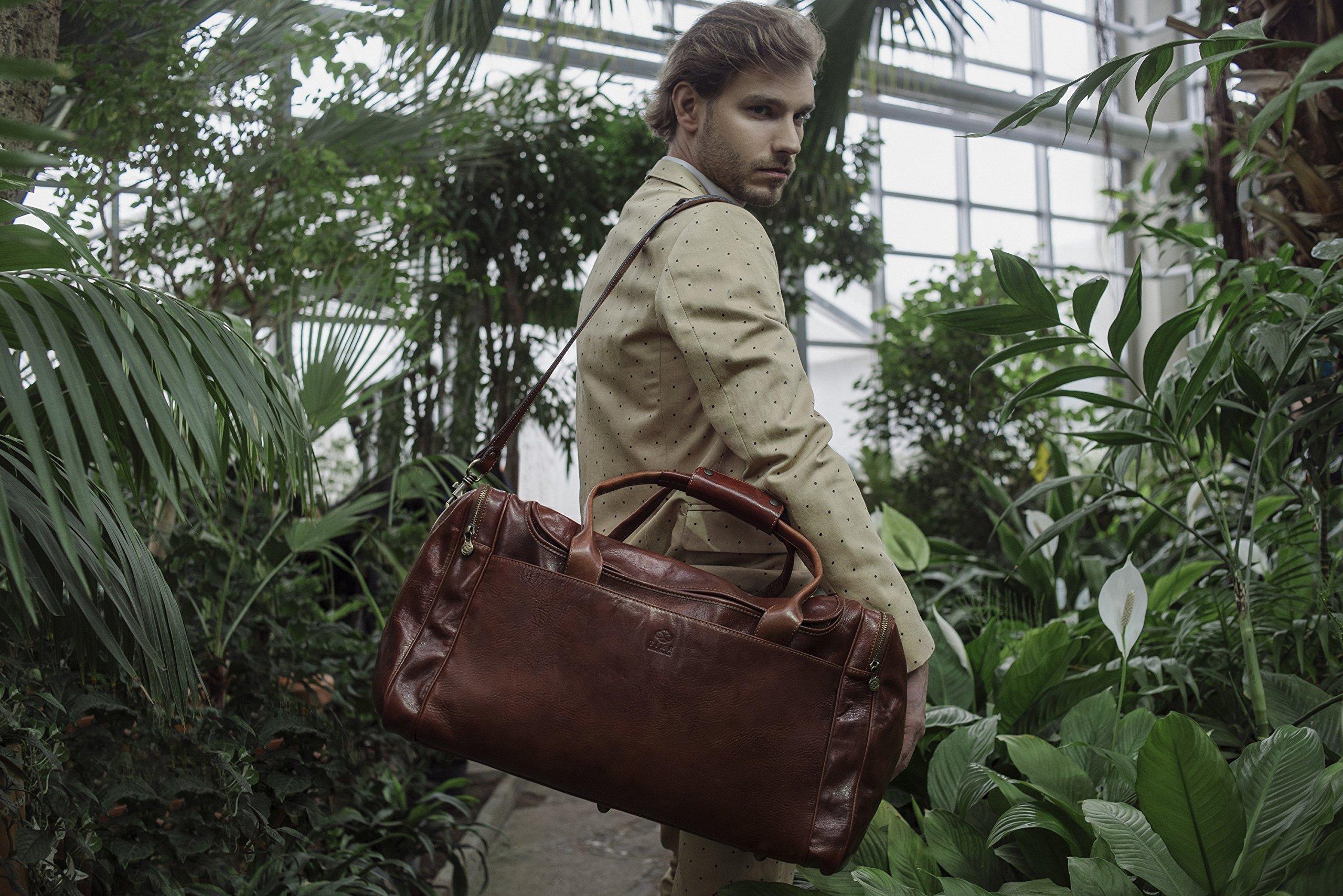Leather Duffel Bag, Weekend Bag, Gym, Large Travel Bag, Cognac, Brown - Time Resistance by Time Resistance (Image #7)