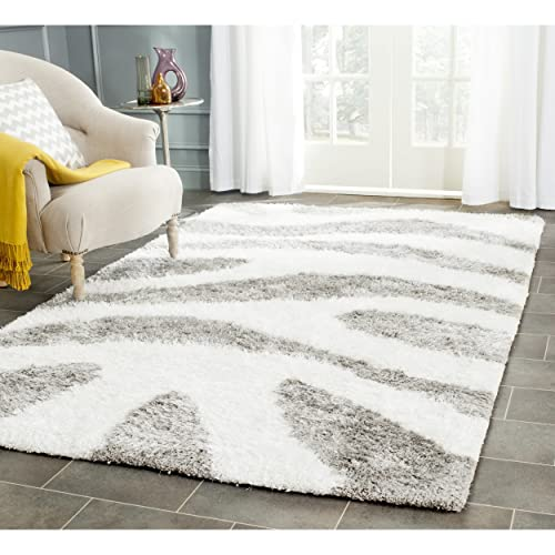 Safavieh Barcelona Shag Collection BSG321A Handmade Ivory and Silver Polyester Area Rug 5 x 8