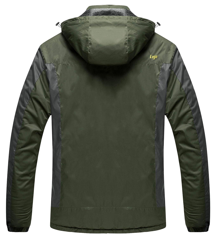 b0c19a34e Lega Mens Waterproof Insulated Fleece Ski Jacket Windproof Mountain Hiking  Hooded Rain Jacket